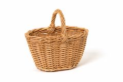 Old Wicker Basket On a White Background royalty free stock photos