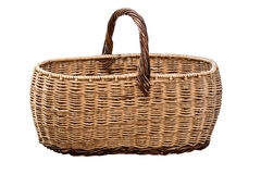 Old Wicker Basket Isolated On a White Background Stock Photo