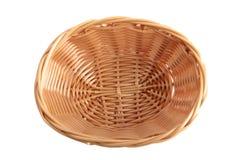 Old wicker basket on white Royalty Free Stock Photo