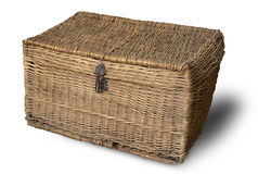 Old wicker chest for keeping clothes. Royalty Free Stock Photos