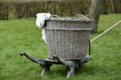 Old wicker clothes basket. Standing in the garden stock photography