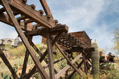 Old Wild West Arizona Town Gold Mine Trestle Bridge Royalty Free Stock Photography