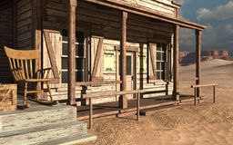 Old wild west building. With a wooden chair stock illustration
