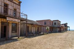 Old Wild West Town Movie Set in Mescal, Arizona stock image