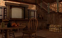 Old wild west saloon. Interior with table and chairs vector illustration