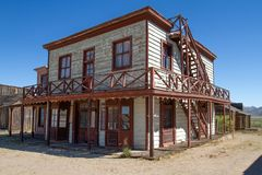 Old Wild West Town Movie Set in Arizona. A tour of the old weathered wild west movie set in Mescal, Arizona. The Mescal movie set has been the home of many royalty free stock image
