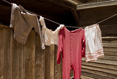 Free Old Wild West Underwear Laundry Clothesline Royalty Free Stock Images - 14459179