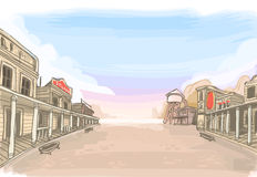 Old Wilde West Scenery vector illustration