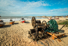 Old winch for pulling fishing boats ashore Royalty Free Stock Image