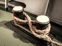 Old winch with ship rope Stock Photography