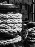 Old winch with ship rope Royalty Free Stock Photography