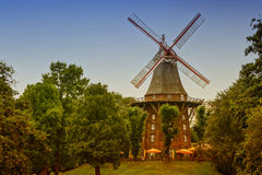 Old wind mill among the green trees in the Park Royalty Free Stock Image