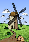 Old wind mill sketch. Hand drawn  stock illustration Stock Photo