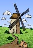Old wind mill sketch. Hand drawn stock illustration Royalty Free Illustration