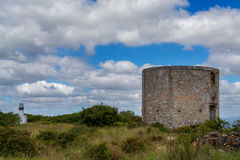 Old wind mill on Torres Vedras Portugal. Torres Vedras Portugal. 13 April 2017.Old abandoned wind mill on Torres Vedras.Torres Vedras, Portugal. photography by stock photos