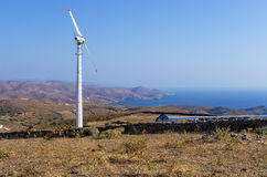 Old Wind Turbine In Kythnos Island, Cyclades, Greece Royalty Free Stock Photography