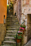 Old Winding Stairway in Cinque Terre, Italy. A old winding stairway with flower pots at the entrance to a historic building in Cinque Terre, Italy Royalty Free Stock Photos