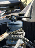 Old windlass and rope. Windlass and rope on the old wooden boat, Finland Royalty Free Stock Photos