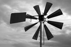 Old Windmill. Closeup of an old windmill. In black & white royalty free stock images