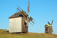 Old windmill. Antique ramshackle wooden windmill, Pirogovo, Kiev, Ukraine Royalty Free Stock Image