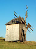 Old windmill. Antique ramshackle wooden windmill, Pirogovo, Kiev, Ukraine Stock Images