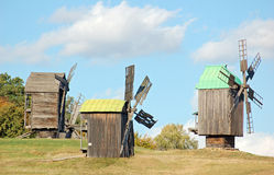 Old windmill. Antique ramshackle wooden windmill, Pirogovo, Kiev, Ukraine Stock Photography