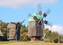 Old windmill. Antique ramshackle wooden windmill, Pirogovo, Kiev, Ukraine Royalty Free Stock Photos