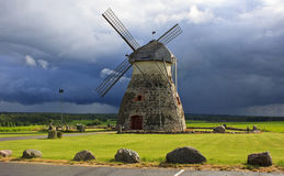 Old windmill. Located in Kuremaa, Estonia stock images