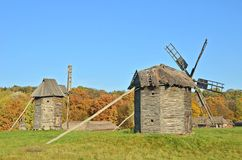 Old windmill. Antique ramshackle wooden windmill, Pirogovo, Kiev, Ukraine Royalty Free Stock Images
