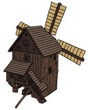 Old windmill. Hand drawing of a old wooden windmill Stock Photos