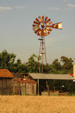 Old windmill. And grain field royalty free stock photo