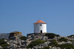 Old windmill, Aegean Sea, Greece Stock Photos