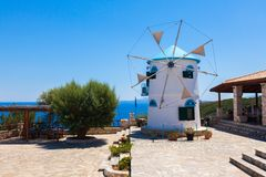 Old Windmill in Agios Nikolaos near blue caves in Zakynthos Zan Royalty Free Stock Photos