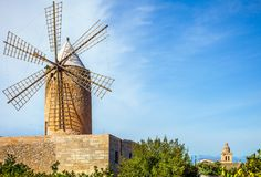 An old windmill in Algadia Mallorca. Spain royalty free stock photos