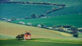 Old windmill on a background of green hills and white trees in Kunkovice.South Moravia.Czech Republic. Stock Images