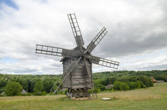 Old windmill and beautiful landscape Royalty Free Stock Photo