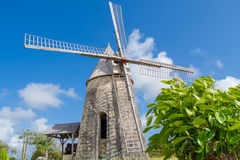 Old windmill of Bezard in Marie-Galante, Guadeloupe. The ancient wind mill of Bezard, in the island of Marie Galante, is one of the best preserved examples of Royalty Free Stock Image