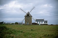 Old windmill in Brittany, Western France Stock Images