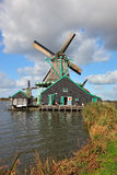A old windmill in the Dutch village Royalty Free Stock Photography