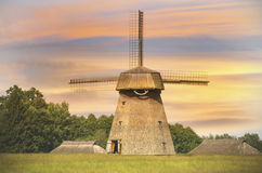 Old windmill in evening, Lithuania Royalty Free Stock Images