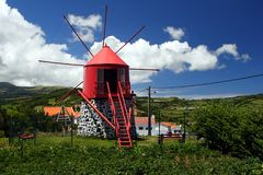 Old windmill on Faial island Stock Photography
