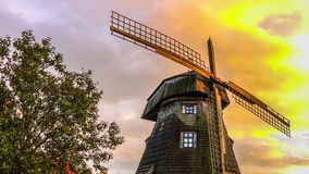 Old windmill in fall timelapse stock video