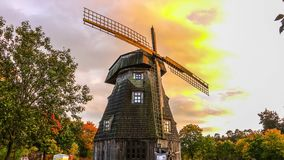 Old windmill in fall timelapse stock video footage