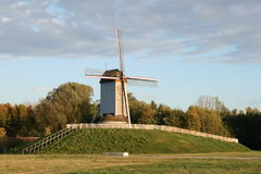 Old windmill in flanders fields. Royalty Free Stock Images