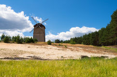 Old windmill, Fojutowo, Poland. Old windmill landscape located in small town in Poland, Fojutowo Royalty Free Stock Images