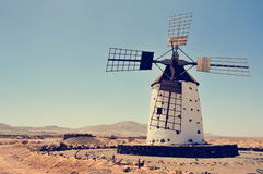 Old windmill in Fuerteventura, Spain, filtered Royalty Free Stock Image
