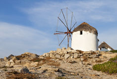 Old windmill in a Greek island Stock Images