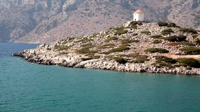 Old windmill on the hill in the Mediterranean coast aerial video stock video footage