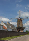 Old windmill in the historic center of Wijk bij Duurstede Royalty Free Stock Images