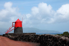 Old windmill on the island of Pico, Azores royalty free stock image